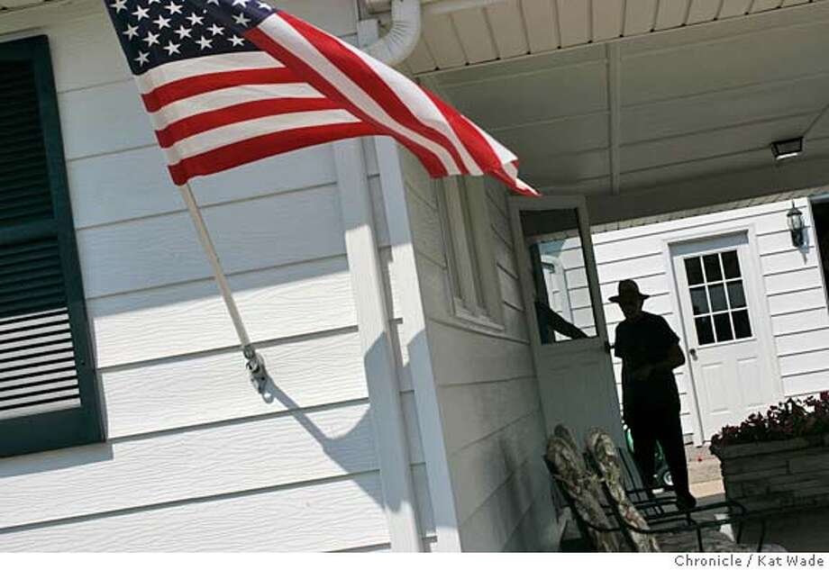 CALIFMO_102_KW.jpg In California, Mo on 9/14/04 native Missouri Californian, Don Heinen, 77, with an american flag displayed prominently on his house is a staunch Bush supporter. Although this Missouri city shares the same name as our State the politics here are part of the swing state with many undecided voters for the upcoming presidential election. Chronicle Photo by Kat Wade Mags out/mandatory credits San Francisco Chronicle and photographer/ Nation#MainNews#Chronicle#09/26/2004##5star##0422368078 Photo: Kat Wade