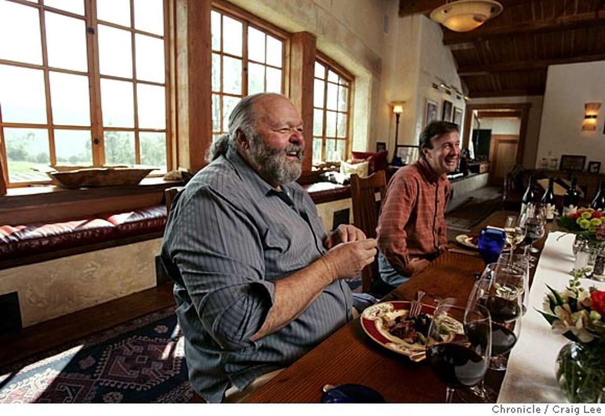 KULETO17_592_cl.JPG Story on restaurant designer Pat Kuleto and his personal chef, Janelle Weaver, up at his Kuleto Family Wine Estate in St. Helena. Photo of Pat Kuleto (left) and his winemaker, Dave Lattin (right) during lunch at the winery. Event on 3/1/05 in St. Helena. Craig Lee / The Chronicle MANDATORY CREDIT FOR PHOTOG AND SF CHRONICLE/ -MAGS OUT