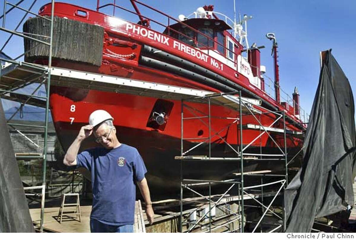 fireboat_097_pc.jpg Dennis Kennedy, marine engineer for the fire department's fleet of two boats, is overseeing the fireboat Phoenix renovation. The SFFD fireboat Phoenix is undergoing routine maintenance at Bayside Boatworks on 9/22/04 in Sausalito, CA. PAUL CHINN/The Chronicle MANDATORY CREDIT FOR PHOTOG AND S.F. CHRONICLE/ - MAGS OUT Metro#Metro#Chronicle#9/25/2004#ALL#5star#b4#0422368187