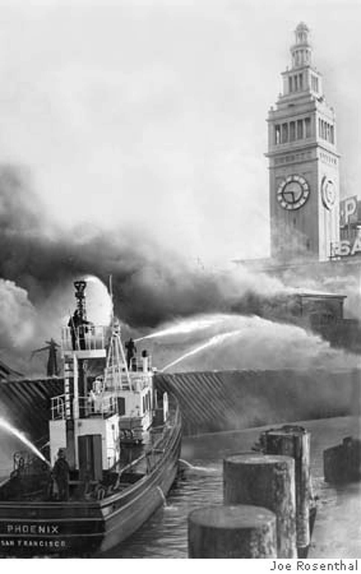 FIREBOAT2-B-01APR55-MN-JR - Fireboat Phoenix pured streams of water onto blazing peir. The Ferry building Tower was not damaged. Photo by Joe Rosenthal. Metro#Metro#Chronicle#9/25/2004#ALL#5star#b4#422133952