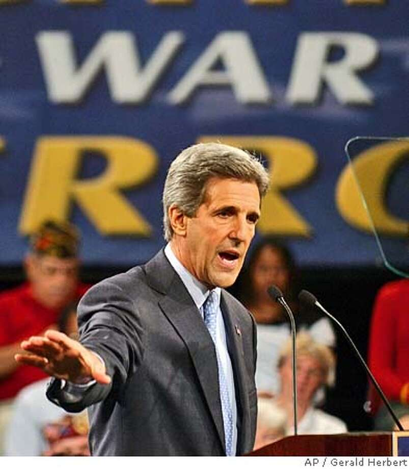 Democratic Presidential candidate Sen. John Kerry, D-Mass, delivers a speech on the war on terror at Temple University in Philadelphia, Penn. Friday, Sept. 24, 2004. (AP Photo/Gerald Herbert) ##Chronicle##ALL###0422371583 Photo: GERALD HERBERT