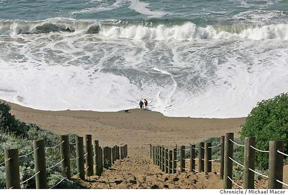 walkingman_130.jpg - The Coastal Trail drops down onto Baker Beach. This is part four of the continuing WALKINGMAN series. This segment covers walking the perimeter of the city along San Francisco's shoreline and the S.F.-San Mateo county line. 3/2/05 San Francisco, Ca Michael Macor / San Francisco Chronicle Mandatory Credit for Photographer and San Francisco Chronicle/ - Magazine Out Photo: Michael Macor