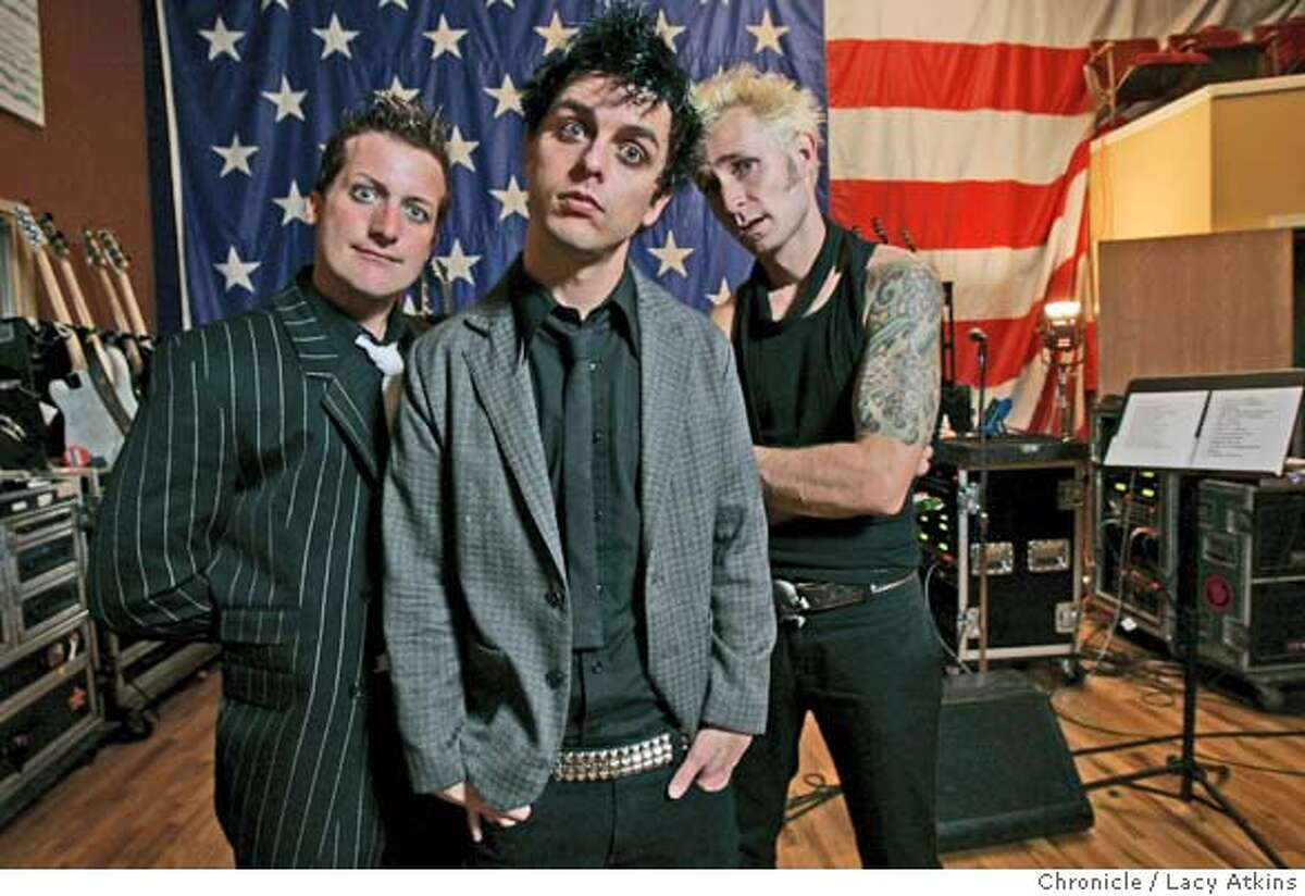 TriCool Billy Joe Armstrong, and Mike Dirnt, of the band Green Bay , in their studio in Oakland Thursday Sept.9, 2004.They are back on the scene with a new album that is a punk-rock opera aboout life during wartime. LACY ATKINS/ The Chronicle