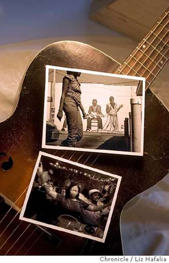 Photo with a 1940's Cremona harmony guitar-- loaned by Real Guitar-- to serve as a vertical background for two of Mike Kepka's horizontal photos from his musical trip through the south. Shot in San Francisco on 3/2/05. Photo: Liz Hafalia
