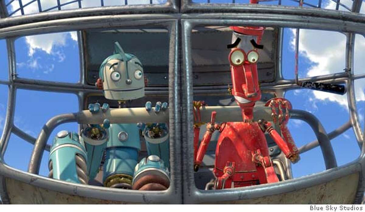 """In Blue Sky Studios' """"Robots,"""" Rodney Copperbottom (left), an inventor whose voice is supplied by Ewan McGregor, is accompanied by Fender (Robin Williams). Image courtesy of Blue Sky Studios"""