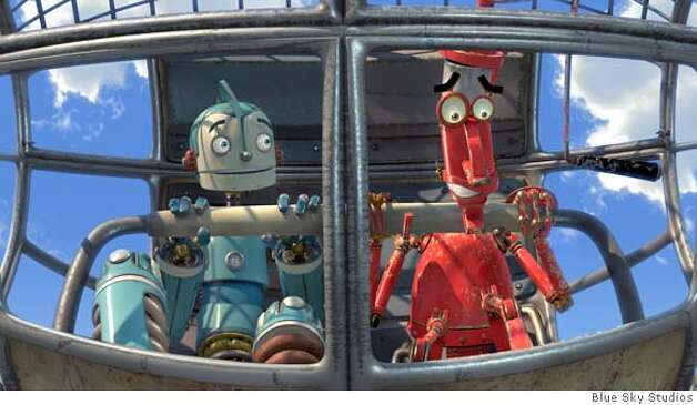 "In Blue Sky Studios' ""Robots,"" Rodney Copperbottom (left), an inventor whose voice is supplied by Ewan McGregor, is accompanied by Fender (Robin Williams). Image courtesy of Blue Sky Studios"