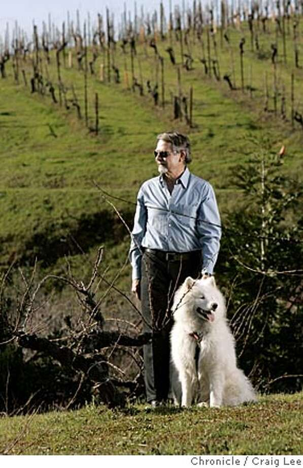 Ridge Vineyards in the Santa Cruz Mountains. Paul Draper, longtime winemaker and part-owner, in the vineyard with his dog, Bodhi. Event on 2/3/05 in Cupertino. Craig Lee / The Chronicle Photo: Craig Lee