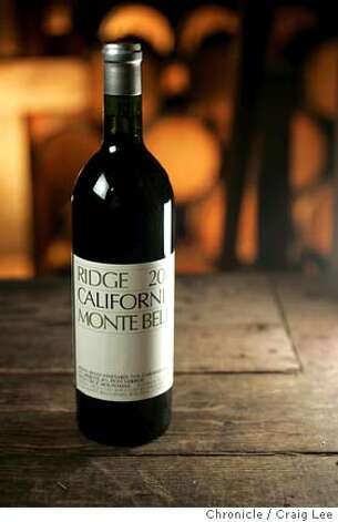 Ridge Vineyards in the Santa Cruz Mountains. Photo of a bottle of 2002 Ridge Vineyard Monte Bello Cabernet.  Event on 2/3/05 in Cupertino. Craig Lee / The Chronicle Photo: Craig Lee