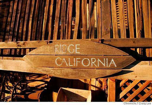 Ridge Vineyards in the Santa Cruz Mountains. Paul Draper, longtime winemaker and part-owner. 2002 Ridge Vineyard Monte Bello Cabernet. Close-up photo of Ridge California sign by the taste room.  Event on 2/3/05 in Cupertino. Craig Lee / The Chronicle Photo: Craig Lee