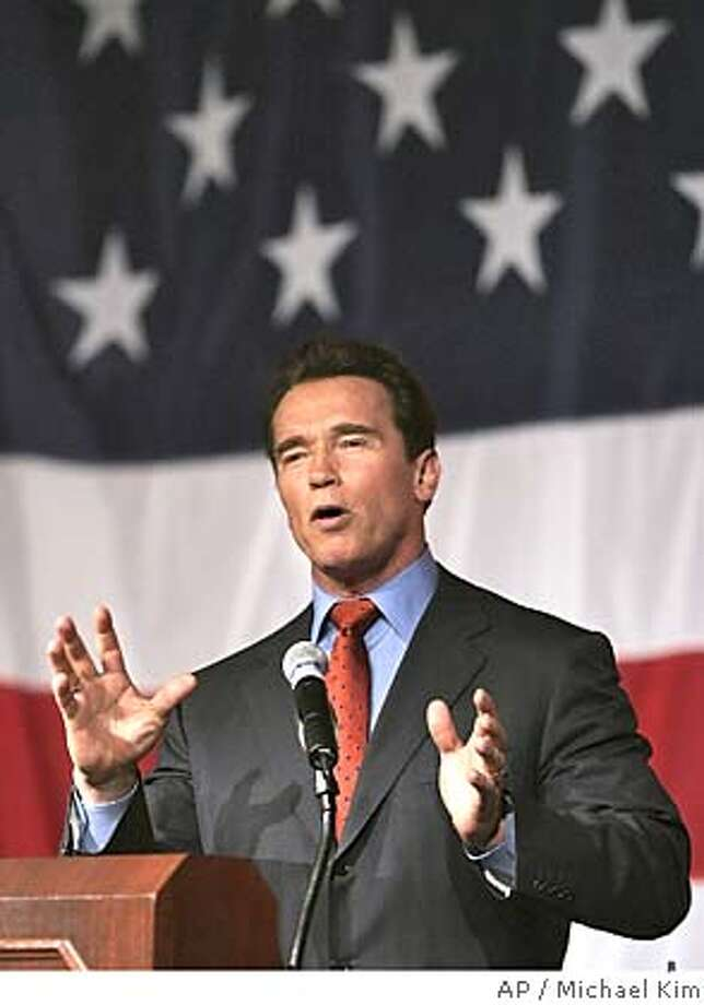 California governor Arnold Schwarzenegger speaks to the gathering at the New York Republican County Committee Lincoln Day Dinner in New York on Monday, Mar. 7, 2004. (AP Photo/Michael Kim) Photo: MICHAEL KIM