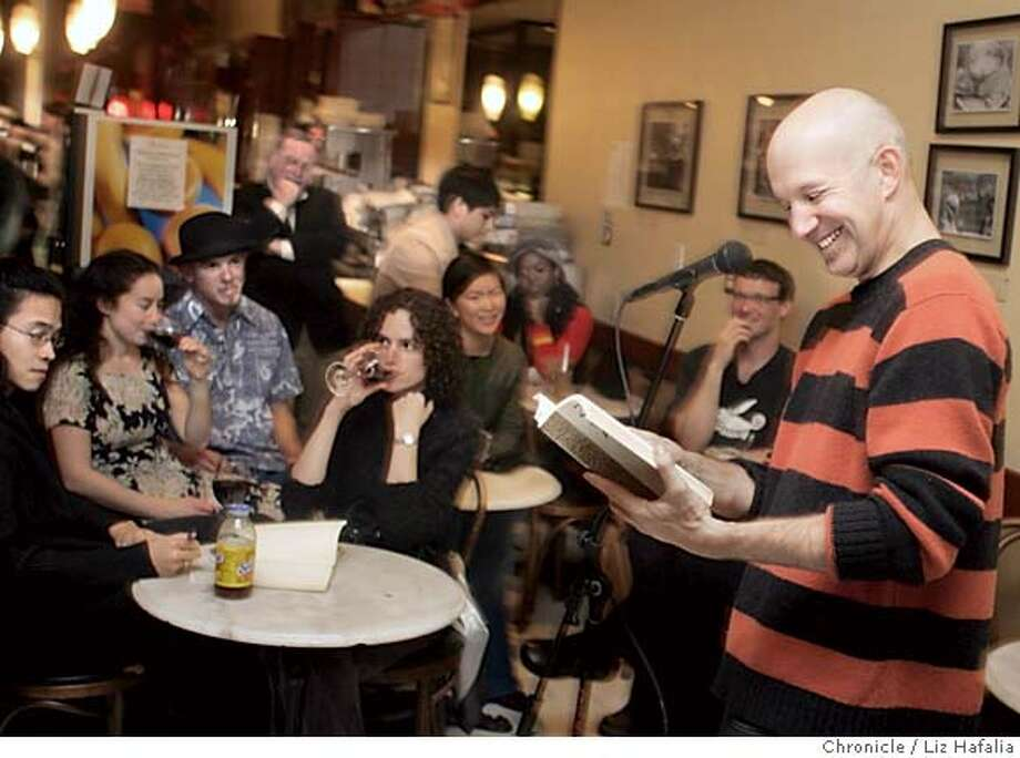 """HAIKU09_031_LH.JPG Jeffrey Goldsmith hosting S.F.'s own Caffeine Society publishing house's national tour of """"haiku slams"""" - including one at Cafe Roma in North Beach - while patron come up with their own 17-syllable poems and deliver them up to the crowd. Shot in San Francisco on 3/4/05. Creditted to San Francisco Chronicle/Liz Hafalia Photo: Liz Hafalia"""