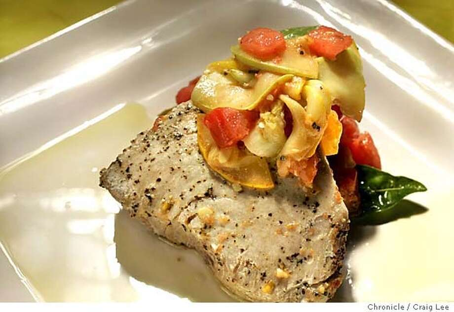 Broiled Tuna Fillet with Squash and Tomato Saute for the Working Cook column. Food styled by Stephanie Dimiceli.  Event on 9/9/04 in San Francisco. Craig Lee / The Chronicle MANDATORY CREDIT FOR PHOTOG AND SF CHRONICLE/ -MAGS OUT Photo: Craig Lee