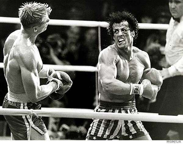 """Rocky IV"" - Rocky must come out of retirement to battle a gargantuan Soviet fighter named Drago, who brutally punished Rocky's friend and ex-rival, Apollo Creed. Seeking revenge in the name of his fallen comrade and his country, Rocky fights Drago in Moscow. Available Aug. 1 Photo: Mgm/ua Entertainment Co."