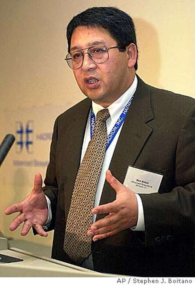 Dr. Kenneth Alibek talks about bioterrorism at George Mason University in Manassas, Va., Friday, Nov. 9, 2001. Alibek has a radical theory about anthrax: what finally kills victims is bacteria-caused cellular sewage clogging the bloodstream, not the anthrax toxin usually blamed. (AP Photo/Stephen J. Boitano) DIGITAL IMAGE Photo: STEPHEN J. BOITANO