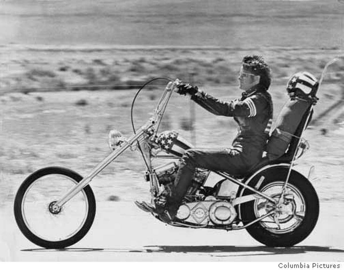 Peter fonda rides a Harley in the film