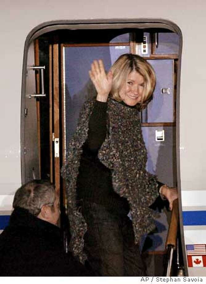 After being released from the Alderson Federal Reformatory for Women in Alderson, W. Va., early Friday morning, March 4, 2005, Martha Stewart waves as she boards her airplane at Greenbrier Valley Airport in Lewisburg, W. Va. (AP Photo/Stephan Savoia) Ran on: 03-04-2005  Martha Stewart waves as she boards her airplane at Greenbrier Valley Airport in Lewisburg, W.Va. Photo: STEPHAN SAVOIA