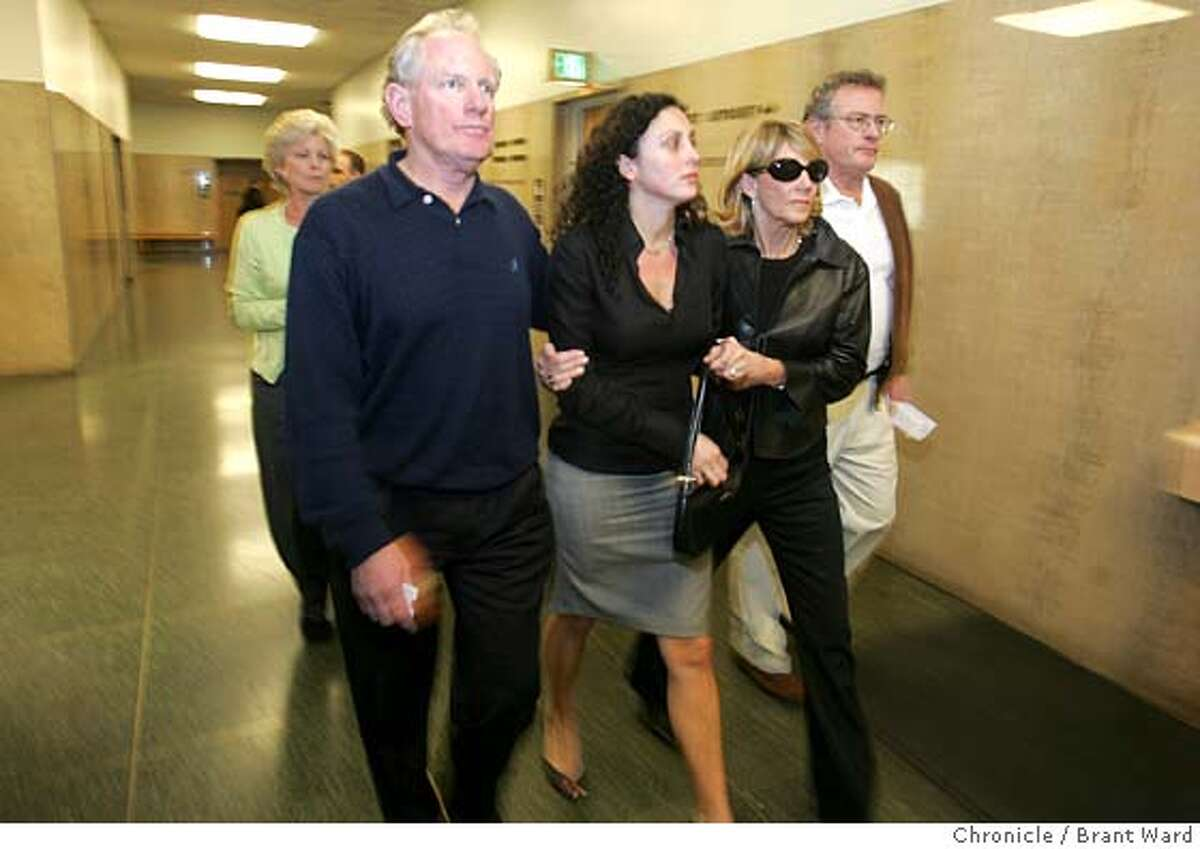 Bruce McPherson, left, Hunter's girlfriend Alexa Savelle (check spelling, center, and Mrs. McPherson ran past the media following the verdicts. Clifton Terrell was convicted of murder one in the killing of Hunter McPherson, son of Secretary of State-designate Bruce McPherson Wednesday. The jury was unable to decide some robbery charges. Action in the hallway of Hall of Justice. Brant Ward 3/3/05