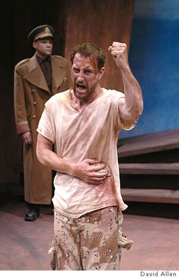 "The Herald (Michael Wiles) describes the horror of battle in ""The Persians."" Photo by David Allen"