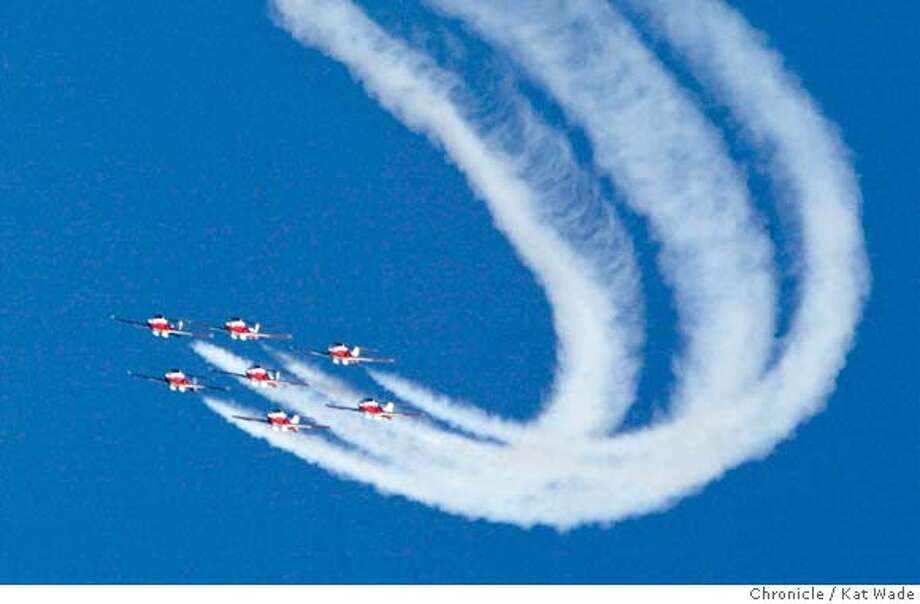 FLEET_051_KW.jpg  Fleet week continues at San Francisco's Marina Green with the Canadian Snowbirds do their aerial precision acrobatics during the continuous air show and activities for the kids on a beautiful warm blue-skied fall day on 10/12/03 in San Francisco. Kat Wade / The Chronicle MANDATORY CREDIT FOR PHOTOG AND SF CHRONICLE/ -MAGS OUT Photo: Kat Wade