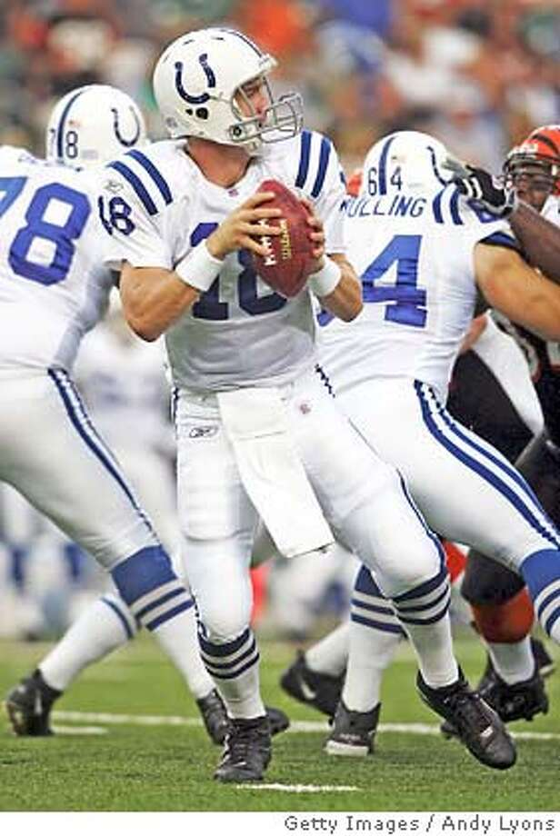 CINCINNATI, OH - SEPTEMBER 3: Peyton Manning #18 of the Indianapolis Colts drops back to pass against the Cincinnati Bengals at Paul Brown Stadium on September 3, 2004 in Cincinnati, Ohio. (Photo by Andy Lyons/Getty Images) *** Local Caption *** Peyton Manning Photo: Andy Lyons