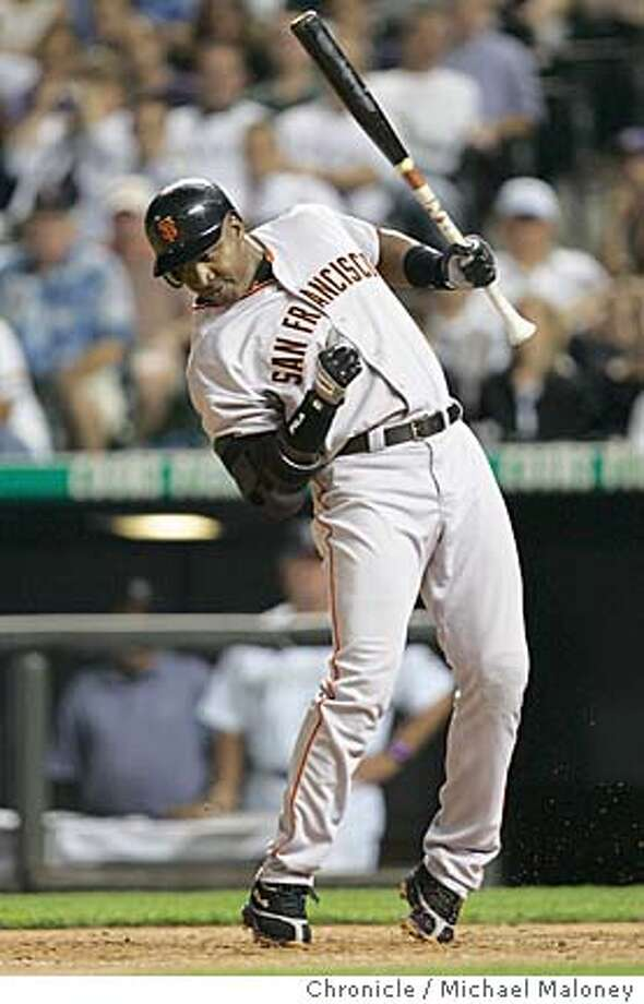 Barry Bonds reacts to being hit in his last at bat.  SF Giants vs Colorado Rockies at Coors Field in Denver, Colorado.  Photo by Michael Maloney / San Francisco Chronicle Photo: Michael Maloney