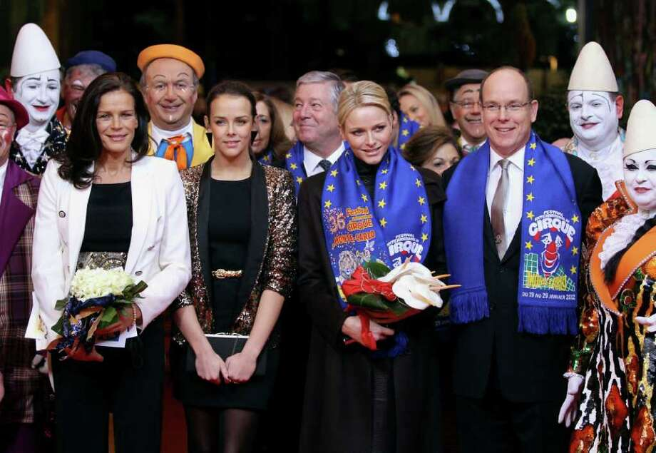 In this Tuesday, Jan. 24 , 2012 photo, left to right Princess Stephanie and her daughter Pauline Ducruet, Princess Charlene and Prince Albert II of Monaco  arrive to attend the closing ceremony of the 36th Monte-Carlo International Circus Festival in Monaco. (AP Photo/Valery Hache, Pool) Photo: Valery Hache, Associated Press / AFP POOL