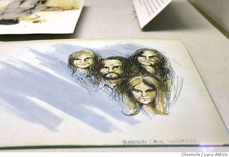 "UC Berkeley exhibit of courtroom sketches of seven infamous California trials from the '70s and early '80s, includes a sketch by artist Walt Stewart of Charles Manson the his family, Feb.22,2005. See Squeaky Fromme hurling a partially bitten apple at the prosecutor in her trial for trying to assassinate President Ford. Patricia Hearst cradles a rifle on the witness stand. Charles Manson, George Jackson and other famous defendants are captured in sketches by two of the nation's best and most prolific courtroom artists. The exhibit at Doe Library also includes related materials such as the original manuscript of Joan Didion's ""White Album"" and Angela Davis staring out from an FBI ""Most Wanted"" poster. Photographer Lacy Atkins / San Francisco Chronicle Photo: LACY ATKINS"
