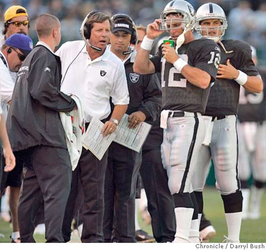 Rich Gannon has recovered from shoulder surgery, but how long will he stay as the starter under coach Norv Turner? Chronicle photo by Darryl Bush