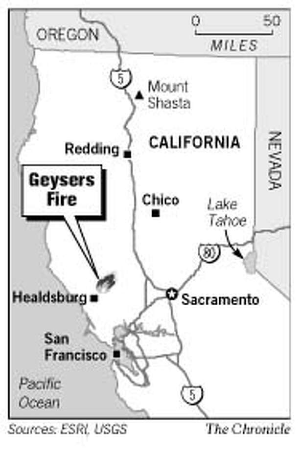 Geysers Fire. Chronicle Graphic
