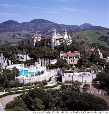 TRAVEL HEARST CASTLE, San Simeon, CA -- Aerial view of Hearst Castle.  credit: Victoria Garagliano/Hearst Castle, California State Parks Ran on: 02-27-2005  Hearst Castle will open for special evening tours with costumed docents -- playing both society and staff -- March through May. Photo: Victoria Garagliano