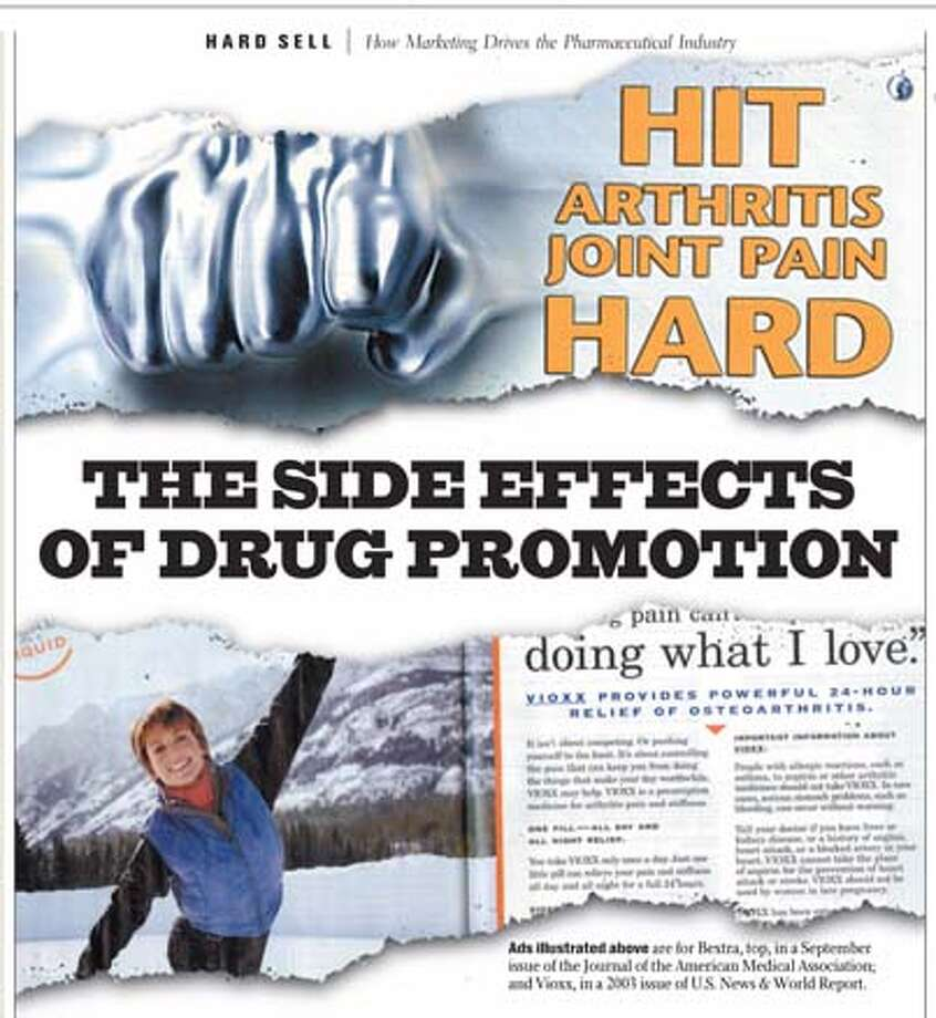 Ads illustrated are for Bextra, top, in a September issue of the Journal of the American Medical Association; and Vioxx, in a 2003 issue of U.S. News & World Report.