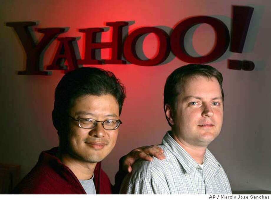 ** ADVANCE FOR USE MONDAY, FEB. 28, 2005 ** Yahoo co founders Jerry Yang, left, and David Filo pose for a portrait in the company's headquarters in Sunnyvale, Calif. on Wednesday, Feb. 23, 2005. (AP Photo/Marcio Jose Sanchez) ADVANCE FOR USE MONDAY, FEB. 28, 2005 Photo: MARCIO JOSE SANCHEZ