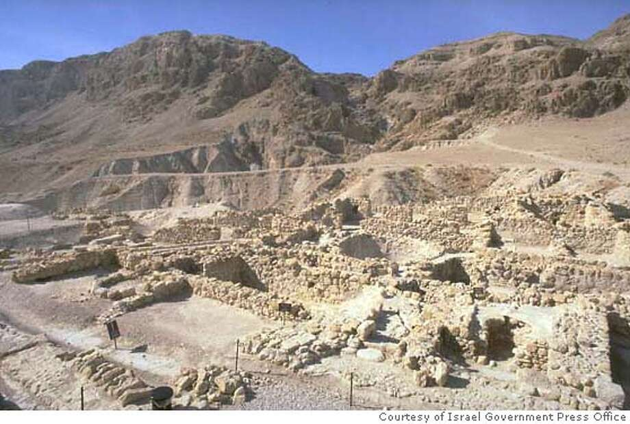 """SCROLLS06b.JPG The ruins of the last Qumran settlement, which was inhabited by the Essenes until its conquest by Vespasian and his Roman Legion in 68 A.D."""" Courtesy of Israel Government Press Office"""