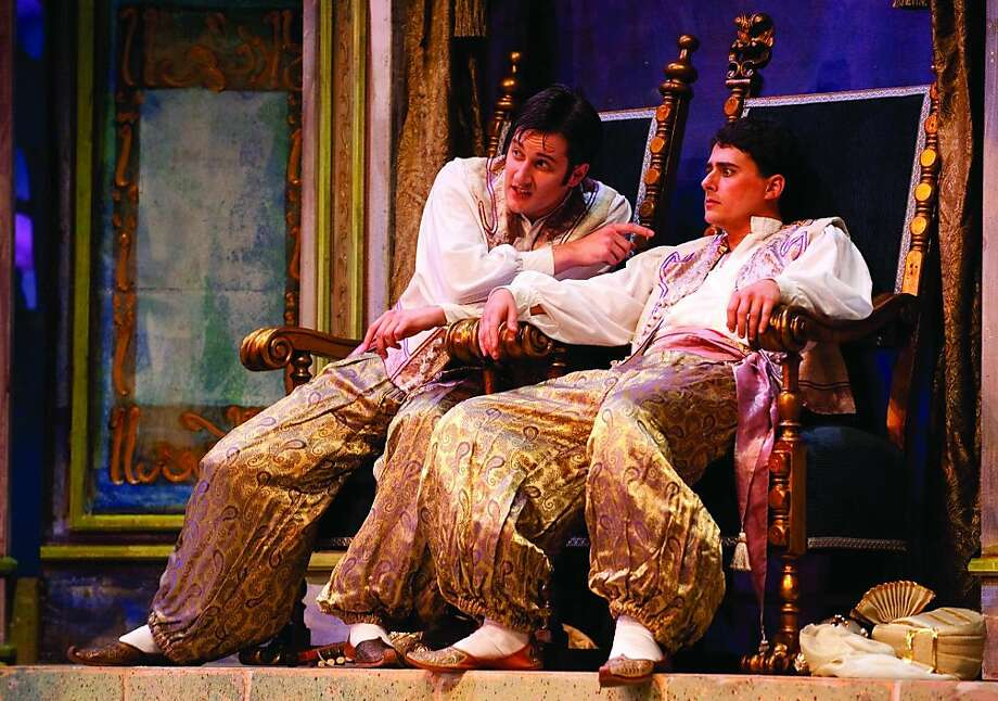 l to r, Chris Uzelac and Robert Vann as the gondoliers Giuseppe and Marco. Photo: Beau Saunders, Lamp Lighters
