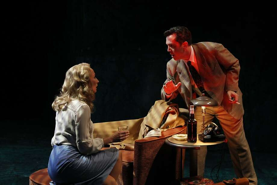 """Carrie Paff (left) plays the homicidal wife Phyllis Nirlinger and John Bogar is her accomplice Walter Huff in San Jose Rep's production of the stage adaptation of """"Double Indemnity"""" Photo: Chris Bennion"""