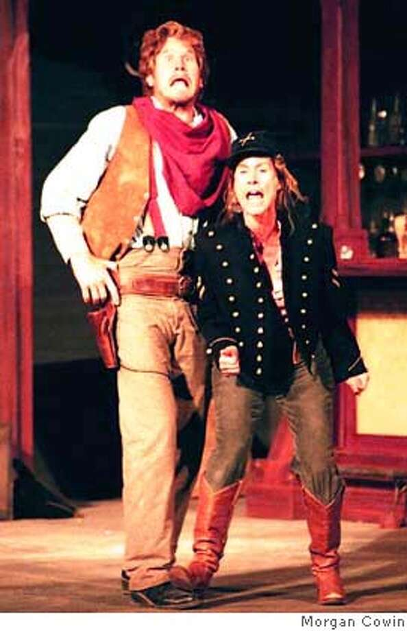 "SHREW06C.JPG Marin Shakespeare Company's presentation of James Dunn's�Wild West version of ""The Taming of the Shrew"" stars Paul Sulzman as Petruchio and Marcia Pizzo as Katharine. PLEASE CREDIT: Morgan Cowin Datebook#Datebook#Chronicle#9/6/2004##Advance##0422320841"