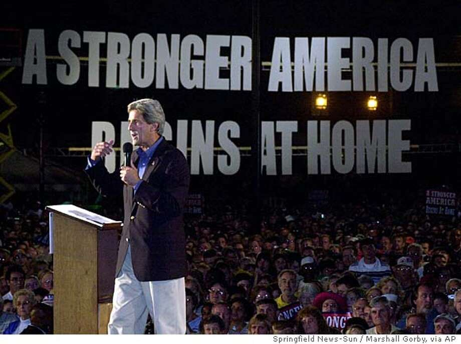 Democratic presidential candidate Sen. John speaks at a midnight rally in Springfield, Ohio, Thursday night, Sept. 2, 2004. (AP Photo/Springfield News-Sun, Marshall Gorby) Photo: MARSHALL GORBY