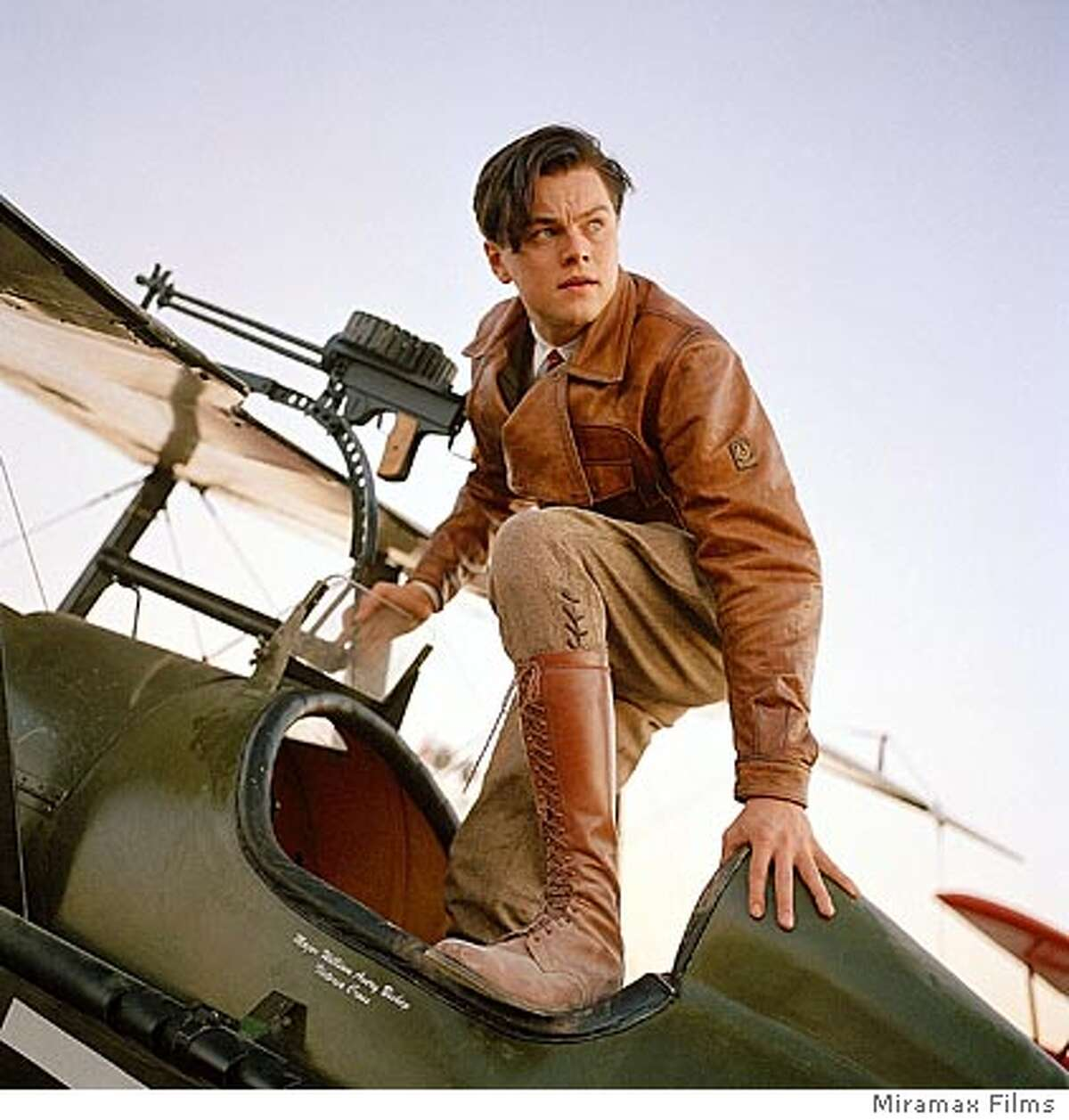 """In this undated promotional photo provided by Miramax, actor Leonardo DiCaprio portrays Howard Hughes in a scene from Martin Scorsese's """"The Aviator."""" (AP Photo/Miramax Films) Ran on: 12-14-2004 Leonardo DiCaprio in Martin Scorseses The Aviator. Ran on: 12-17-2004 Leonardo DiCaprio portrays Howard Hughes as a young man in Martin Scorseses The Aviator."""