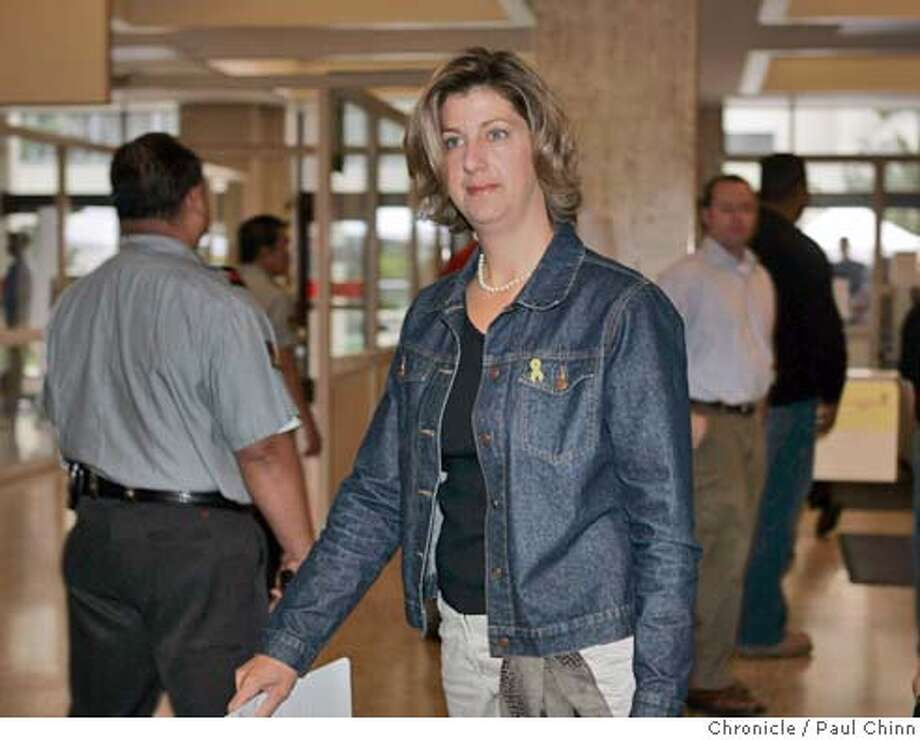 Janey Peterson arrives at the San Mateo County courthouse to attend Wednesday's proceedings in her brother-in-law Scott Peterson's murder trial on Wednesday, Sept. 1, 2004, in Redwood City, Calif. Scott Peterson is the Modesto, Calif. man who could face the death penalty if he's convicted of two counts of murder for the deaths of his wife, Laci Peterson, and their unborn son. (AP Photo/Paul Chinn, Pool) POOL PHOTO Photo: PAUL CHINN
