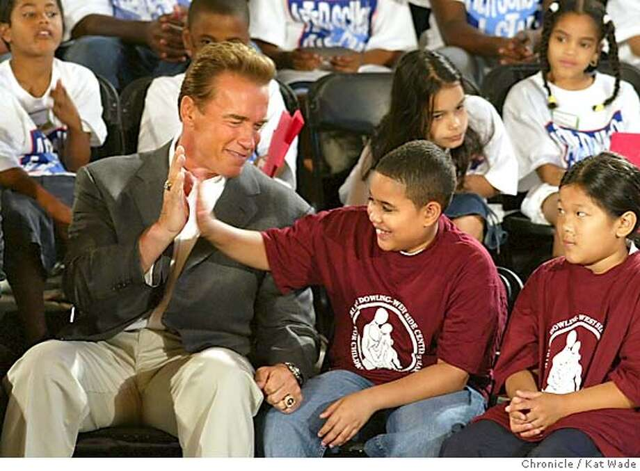 On 9/1/04 in New York, California Governor Arnold Schwarzenegger gives a speech about the impoortance of After School programs after touring PS 129 John H. Finley Campus School of the Republican National Convention in New York. The Chronicle/ Kat Wade Photo: Kat Wade