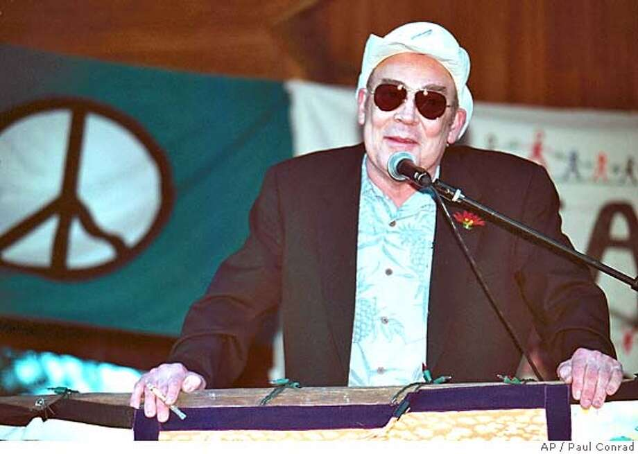 Author and journalist gives a speech during a peace rally against the Iraqi War in Aspen, Colo., February 2, 2003. Thompson was found dead in his Woody Creek, Colo., home of aself-inflicted gunshot wound to the head said Pitkin County Sheriff Bob Braudis. (AP Photo/The Aspen Times, Paul Conrad)