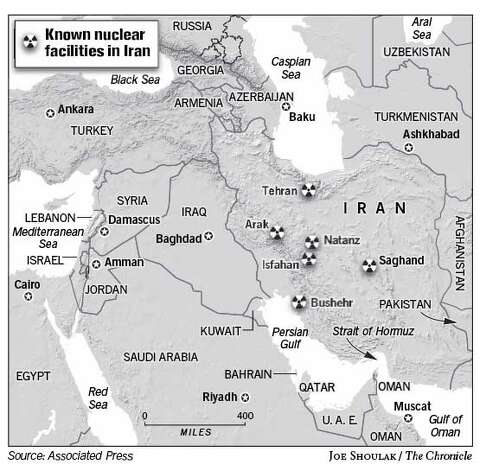 Known Nuclear Facilities in Iran. Chronicle graphic by Joe Shoulak