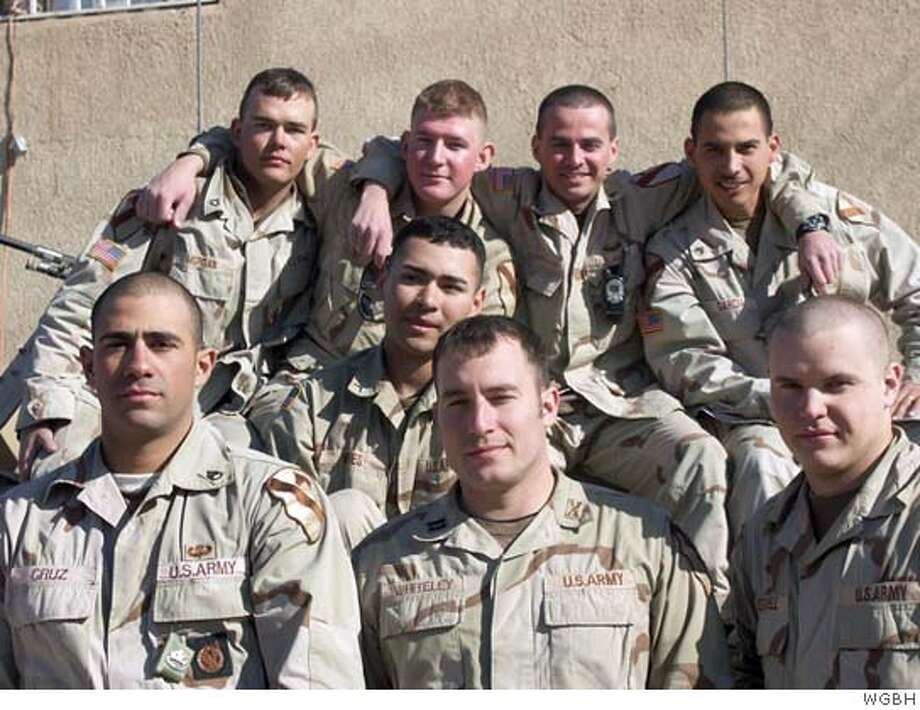 In this Nov. 2004 photo from WGBH, soldiers from the U.S. Armys 8th Cavalry Regiment stationed in Baghdad pose during a scene from PBS' A Company of Soldiers, an up-close, intimate look at the dangers facing an American military unit in Iraq. At least two TV stations will show an uncensored documentary about soldiers in Iraq despite a warning from the public television broadcaster that it can't insure stations against FCC fines stemming from bad language in the Frontline documentary. The show will be shown by most PBS outlets next Tuesday night, Feb. 22, 2005.(AP Photo/ WGBH) A NOV. 2004 PHOTO