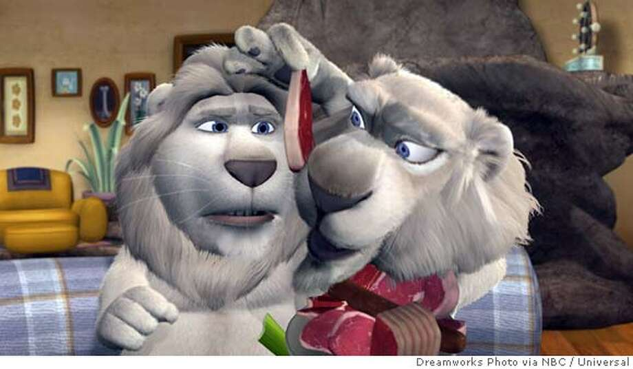 "Computer animated characters Larry, left, voiced by John Goodman, and Sarmoti, voiced by Carl Reiner, appear in a frame from the new NBC series ""Father of the Pride,"" in this undated publicity photo. (AP Photo/ Dreamworks Photo via NBC Universal)"