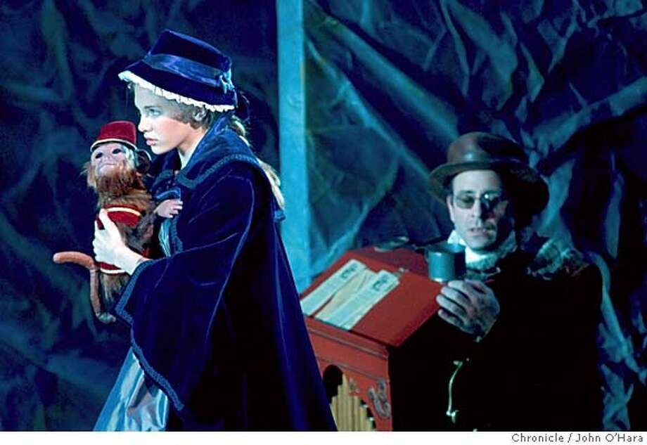 "Mountain View Center for the Performing Arts,  500 Castro St.  ""A little Princess"", based on novel by Frances Hodgson Burnet  Mackenzie Mauzy/ Sara Crewe and Monkey. Organ grinder Brian Herndon  photo/ John O'Hara Photo: John O'Hara"