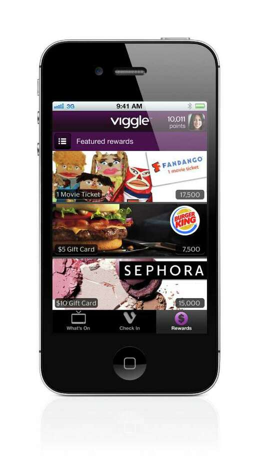 This product image provided by Function Inc., shows the Viggle App for iPhone. When you tap the screen, Viggle's software for iPhones and iPads listens to what's on, recognizes what you're watching and gives you credit at roughly two points per minute. It even works for shows you've saved on a digital video recorder. Rack up 7,500 points, and you'll be rewarded with a $5 gift card from retailers such as Burger King, Starbucks, Apple's iTunes, Best Buy and CVS, which you can redeem directly from your device. Photo: AP