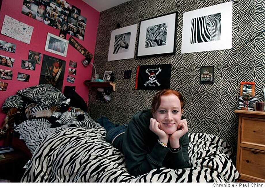 Cayte Williams, a 16-year-old Monte Vista High junior, in her zebra-themed bedroom on 1/22/05 in Danville, CA.  PAUL CHINN/The Chronicle Photo: PAUL CHINN