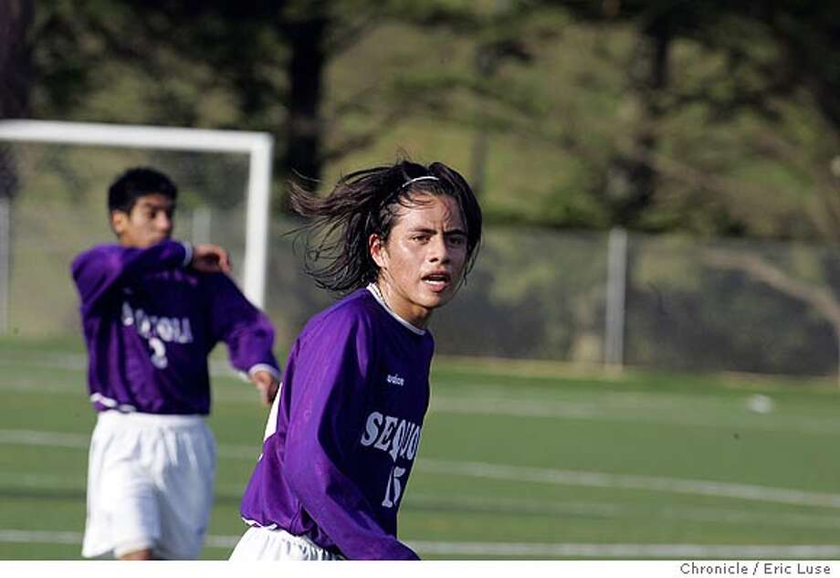 pngarcia18_0048_el.jpg  Profile of Jose Garcia, #15, a star soccer player from Sequoia High School in Redwood City. Garcia just returned from a national under-17 soccer camp in Florida. Pro stardom could be next. Event on 2/9/05 in Daly City. Eric Luse / The Chronicle Photo: Eric Luse