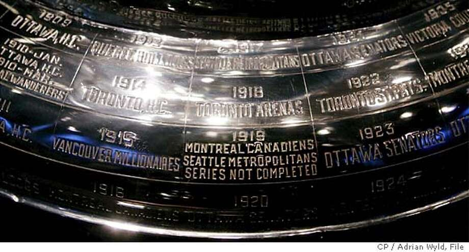 The inscription on the Stanley Cup showing the 1919 series, the only series in the history of the cup not completed at the Hockey Hall of Fame in Toronto Friday Feb. 4, 2005. Speculation continues on whether this years season will be cancelled. (CP PHOTO/Adrian Wyld) Photo: ADRIAN WYLD