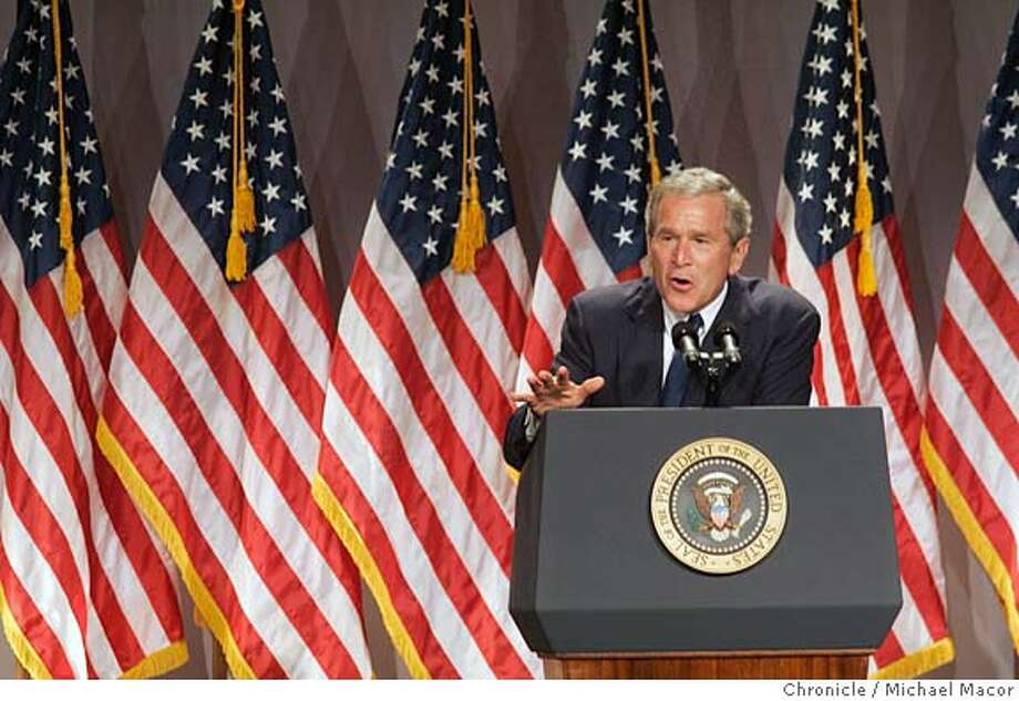 President Bush delivers his address to supporters. President George Bush attends a funraiser in his honor in Santra Monica, Ca. where he asked supporters for a chance to continue his work in the White House for another 4 years. 8/12/04 in Santa Monica Michael Macor/San Francisco Chronicle Photo: Michael Macor
